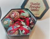Vintage 1995 Twelve Antique Santa Christmas ornaments in box C F Enterprises EUC