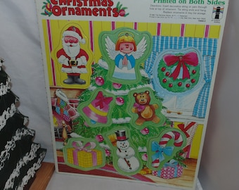 Vintage 1980 Rainbow works cardboard Christmas ornaments Set of 8 decorations Unused Santa Candy Cane snowman