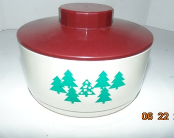 Vintage Tupperware #2062a Christmas tree container Canister Xmas plastic with lid