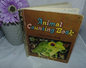 Vintage 1969 Little Golden book Animal Counting Book