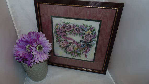 Vintage Home Interiors And Gifts Homco Chickadee And Flowers Heart Wreath Picture 13 X 13