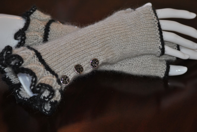 Fingerless Gloves  Gray and Black  Hand Knitted  Steampunk image 0