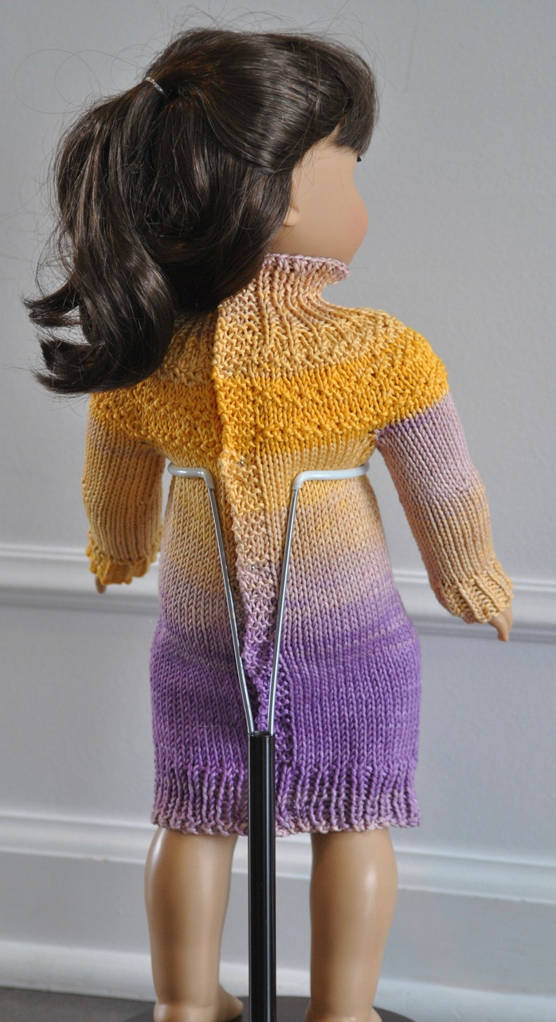 3034a86bfc Hand Knit Sweater Dress for 18 inch Doll Dress Yellow and