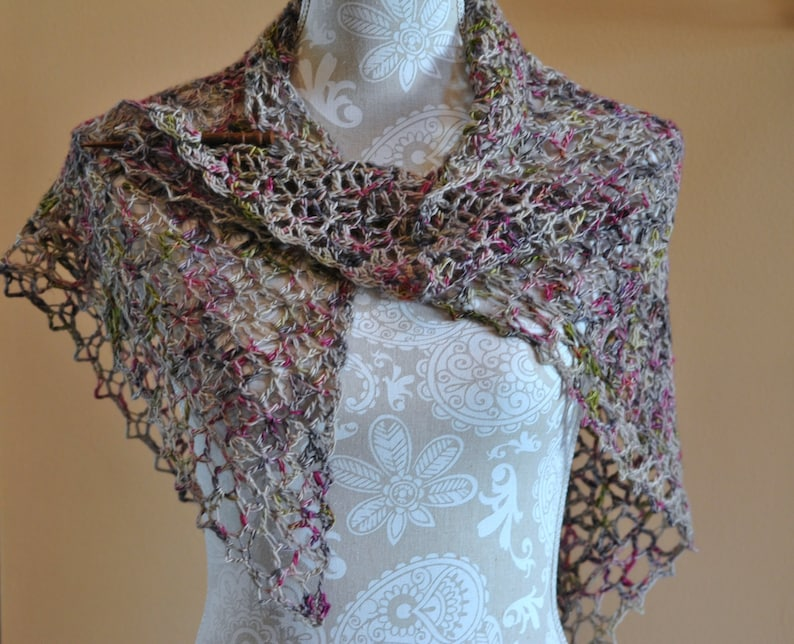Woman's Shawl Neck Wrap Fall Colors Hand Crochet Open image 0