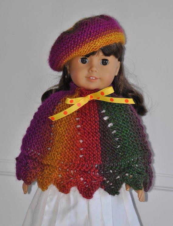 Poncho Baskenmütze 18-Zoll-Puppe Outfit für