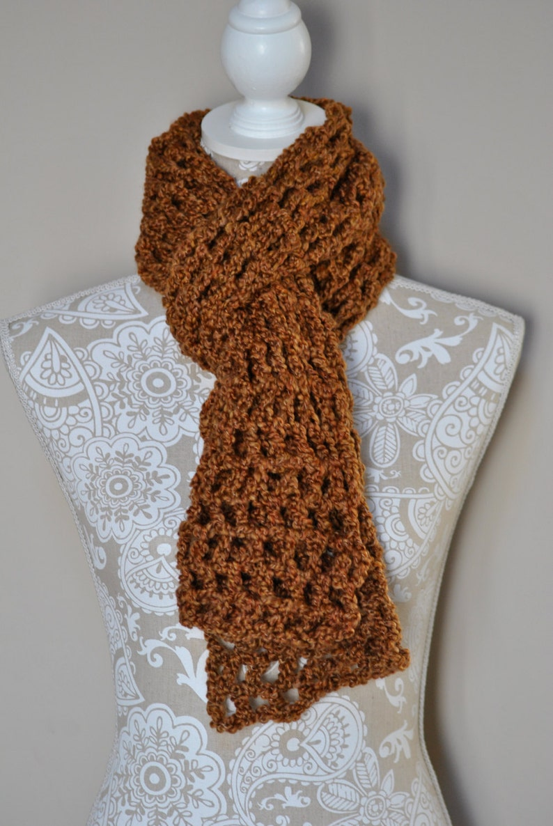 Hand Crochet Scarf Gold Winter Wrap Accessory Clothing Etsy