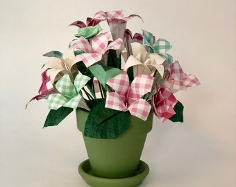 Origami flower arrangement etsy origami flower arrangement paper flowers origami lily iris gingham print mightylinksfo