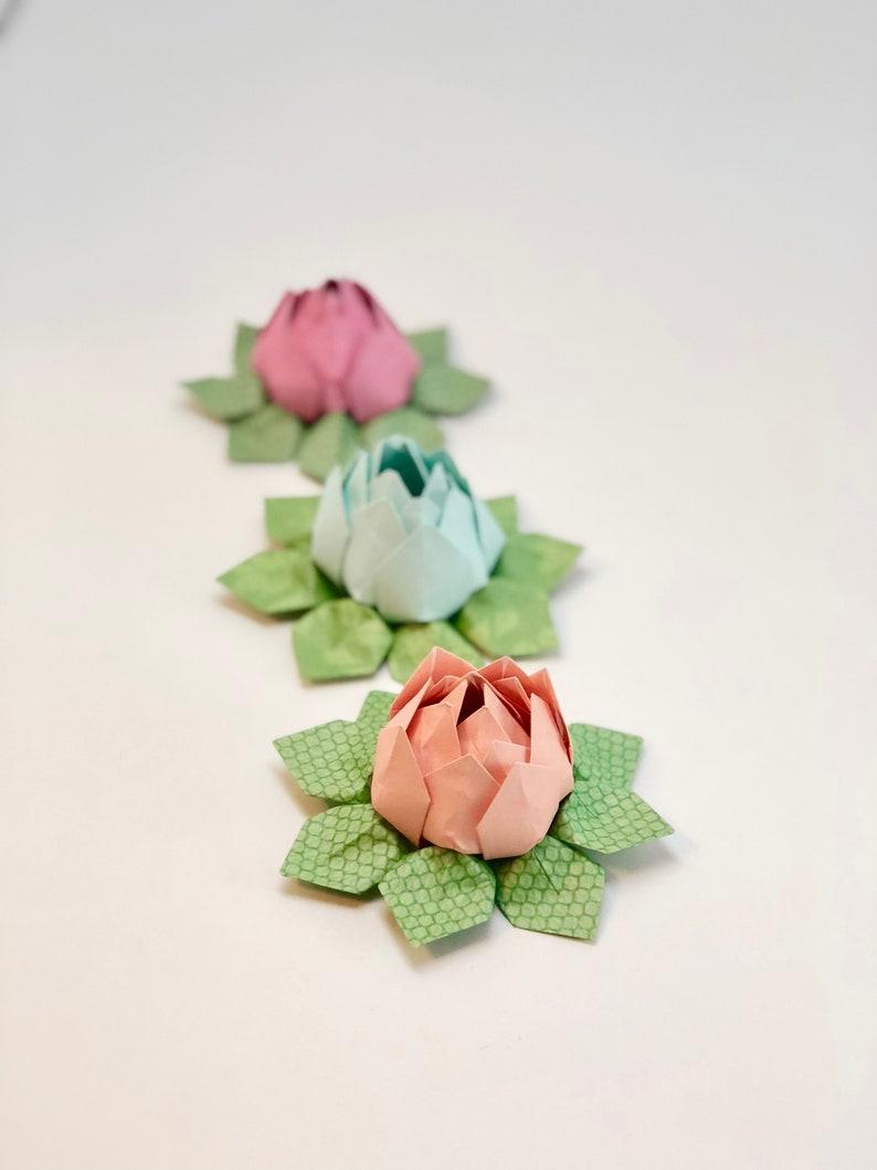 Origami Lotus Flower Waterlily Wedding Favor Paper Flowers