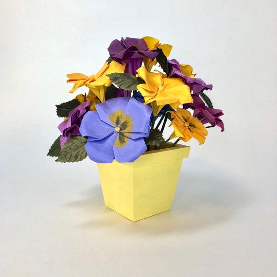Origami Flower Arrangement Paper Pansies Etsy