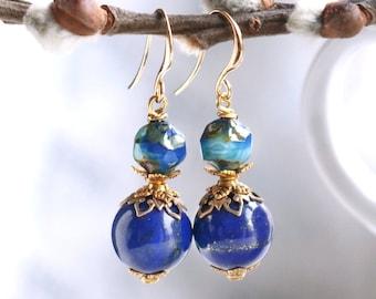 Lapis lazuli earrings, September birthstone earrings, anniversary gift for wife, royal blue lapis earrings, gemstone earrings, gift for her