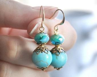 Turquoise earrings, december birthstone earrings, girlfriend gift, for girl, best friend, bridesmaid summer boho earrings, gemstone jewelry