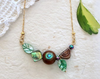 Asymetric row necklace, mixed media wood glass & abalone necklace, nature inspired jewelry leaf necklace, hippie boho tribal bib necklace