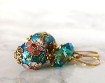 Blue green crystal and floral cloisonne earrings, drop dangle enamel earrings, spring bridesmaid earrings