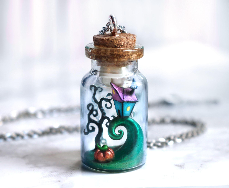 Nightmare Before Christmas bottle necklace Tim Burton polymer | Etsy