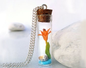 Tiger lily necklace, polymer clay flower bottle necklace, sea shell sand glass vial necklace, nature jewelry, gift for girlfriend cute gifts