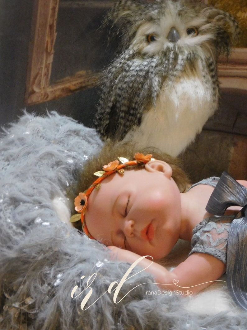 Orange Floral Crown Tieback Orange Flower Crown Baby Girl Crown Baby Photo Props