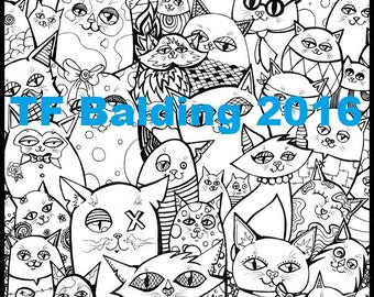 Crazy Cats Coloring Page PDF