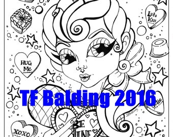 Be Mine Sugar Shock Sweetie instant download pdf coloring page