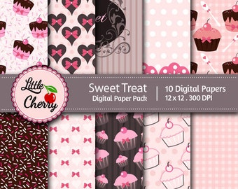 sweet treat- 10 printable Digital Scrapbooking papers - 12 x12 - 300 DPI
