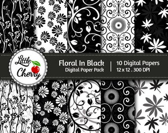 Floral In Black - 10 printable Digital Scrapbooking papers - 12 x12 - 300 DPI