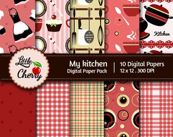 My kitchen- 10 printable Digital Scrapbooking papers - 12 x12 - 300 DPI