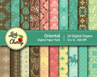 Oriental- 20 printable Digital Scrapbooking papers - 12 x12 - 300 DPI