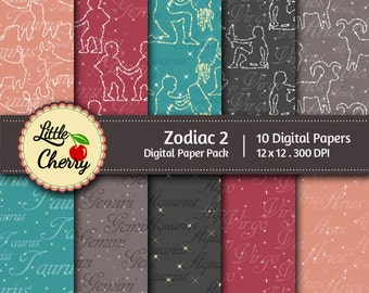 Zodiac 2 - 10 printable Digital Scrapbooking papers - 12 x12 - 300 DPI