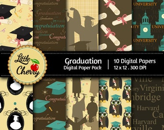 Graduation- 10 printable Digital Scrapbooking papers - 12 x12 - 300 DPI