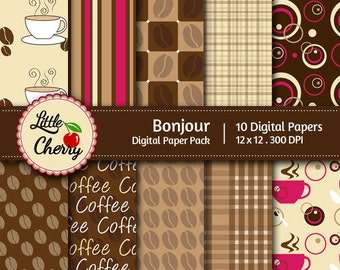 bonjour- 10 printable Digital Scrapbooking papers - 12 x12 - 300 DPI
