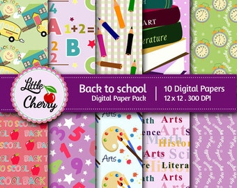 Back to school- 10 printable Digital Scrapbooking papers - 12 x12 - 300 DPI