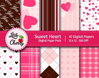 Sweet heart - 10 printable Digital Scrapbooking papers - 12 x12 - 300 DPI