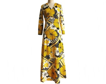 Vintage 70s psychedelic floral yellow black & white maxi dress/ V-neck/ faux wrap bodice/ long sleeve dress with polka dots