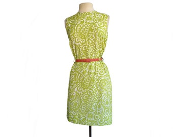 Vintage 60s floral print day dress  green lime chartreuse  botanical and abstract elements summer dress 