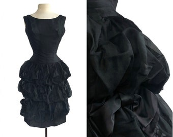 Vintage 50s black chiffon bubble ruffles dress with satin bows  LBD  Little black dress  chiffon party dress  Mrs Maisel black bubble dress