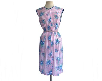 Vintage 90s pink stripe floral summer dress by Woolworth  periwinkle, pink, and azure blue  cotton blend  NWT NOS  M/ L