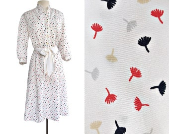 Vintage 70s white summer shirt dress  dandelion seeds fluff print  Walden Classics
