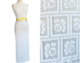 Vintage 60s white lace dress  yellow satin sash  wedding dress with pop of color  floral lace