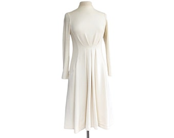 Vintage 1960s white cotton knit dress by Shannon Rogers for Jerry Silverman  winter wedding 