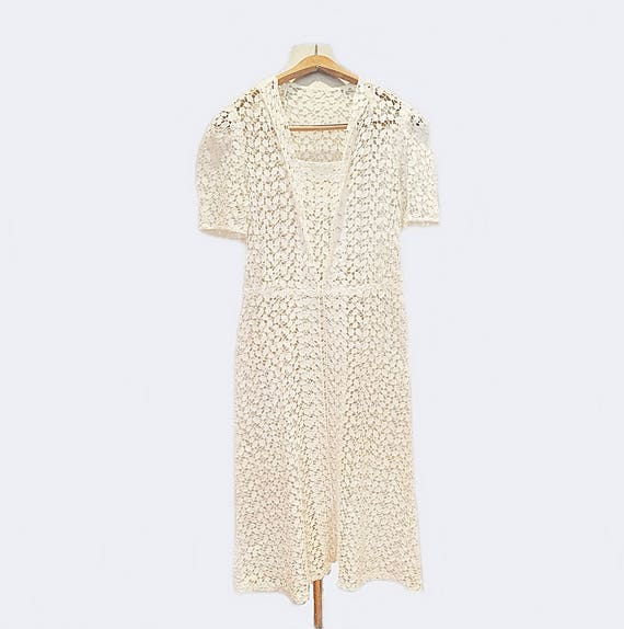 Vintage 40s lace dress/ white eyelet summer dress/