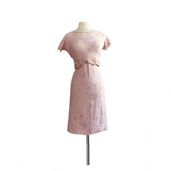 Vintage 60s embroidered eyelet pink dress/ 1960 co