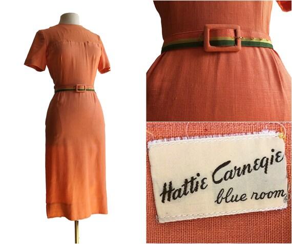 Vintage 50s rare Hattie Carnegie Blue Room wiggle