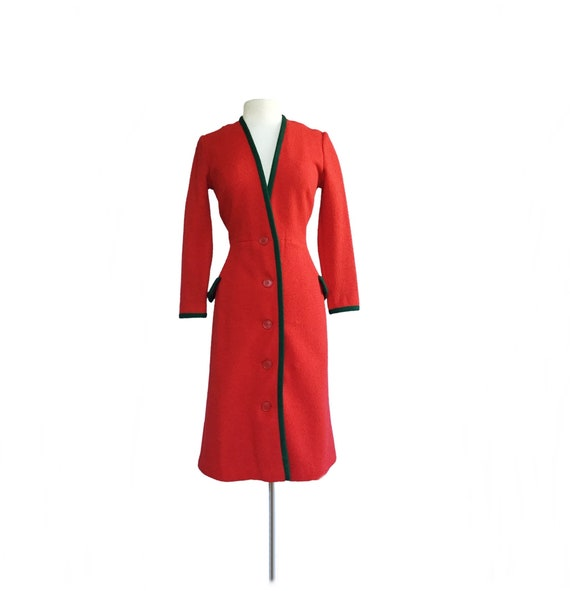 Vintage 70s red sweater dress with green trim| Jun