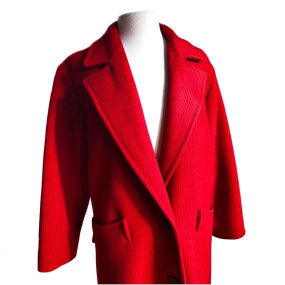 Vintage 70s red & black wool coat/ vibrant color … - image 4