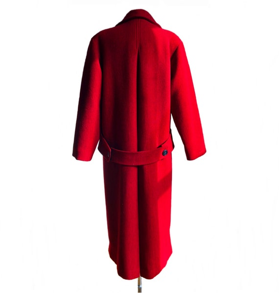 Vintage 70s red & black wool coat/ vibrant color … - image 6