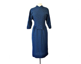 Vintage 50s gingham checkered blue & black wiggle dress by Jeanne Durrell Dallas