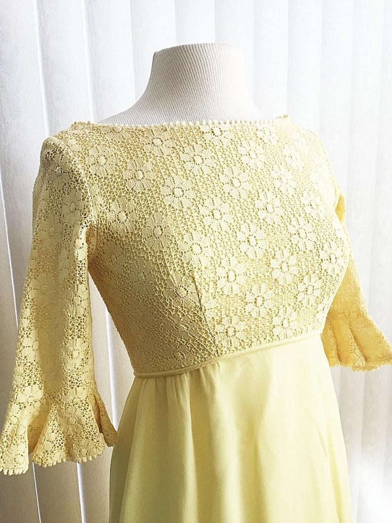452a503eb6e Vintage 60s yellow cocktail dress  floral lace pastel yellow
