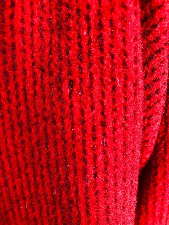 Vintage 70s red & black wool coat/ vibrant color … - image 10