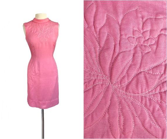 Vintage 60s bubblegum pink silk trapunto dress by