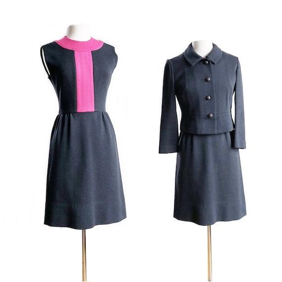 Vintage 60s gray pink wool knit dress set/ Kimberl