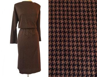 Vintage 80s brown & black houndstooth dress by Impromptu